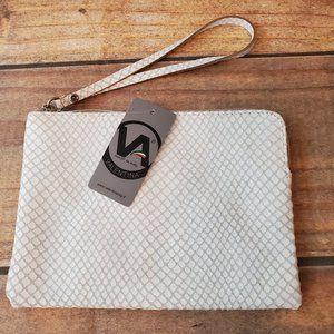 NWT White Snake Embossed Shimmer Wristlet Clutch
